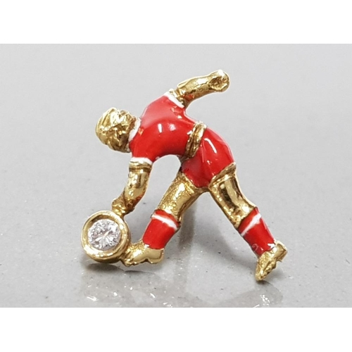 33 - 18CT YELLOW GOLD AND DIAMOND HAND MADE LIVERPOOL FOOTBALLER TIE PIN UNIQUELY HAND ENAMELLED WITH CLU...