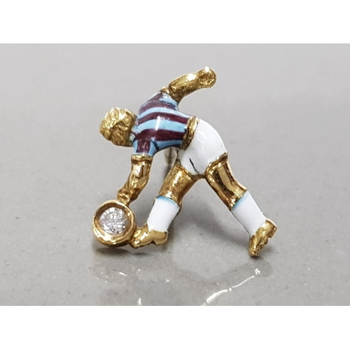 34 - 18CT YELLOW GOLD AND DIAMOND HAND MADE ASTON VILLA FOOTBALLER TIE PIN UNIQUELY HAND ENAMELLED WITH C...