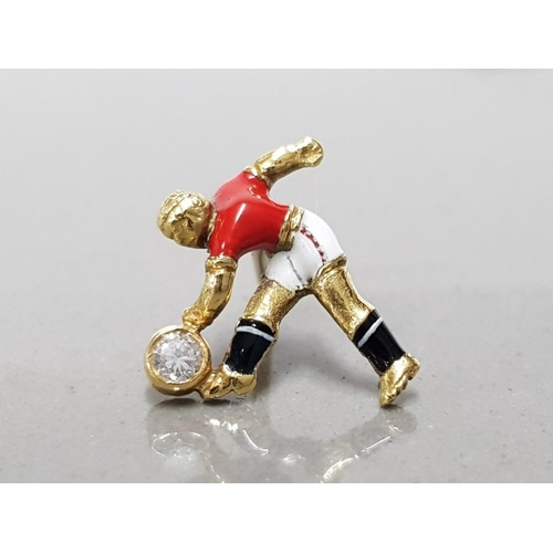 35 - 18CT YELLOW GOLD AND DIAMOND HAND MADE MANCHESTER UNITED FOOTBALLER TIE PIN UNIQUELY HAND ENAMELLED ...
