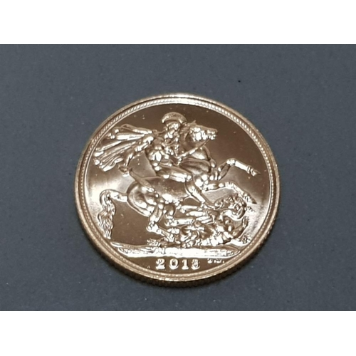 36 - 22CT GOLD 2013 FULL SOVEREIGN COIN...