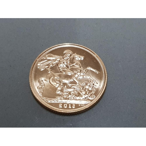 40 - 22CT GOLD 2013 FULL SOVEREIGN COIN...