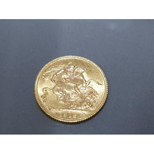 41 - 22CT GOLD 1912 FULL SOVEREIGN COIN...