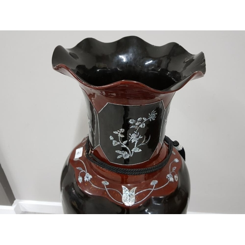42 - MASSIVE COMPOSITION ORIENTAL FLOOR VASE WITH EXTENSIVE DECORATION ON CARVED INLAID STAND 48 INCHES...