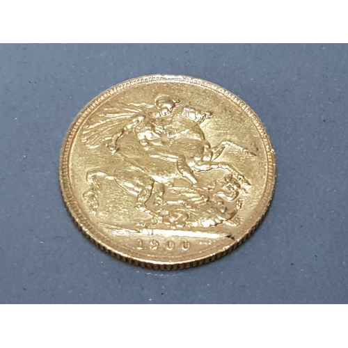 56 - 22CT GOLD 1900 FULL SOVEREIGN COIN...
