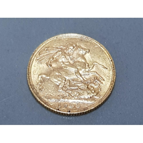 58 - 22CT GOLD 1900 FULL SOVEREIGN COIN...