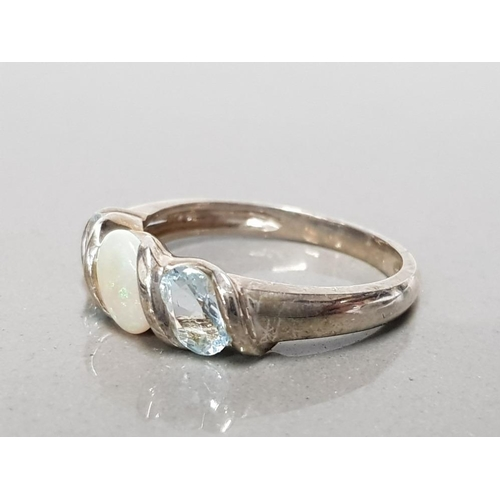 8 - 925 STERLING SILVER OPAL AND TOPAZ 3 STONE RING SIZE Q GROSS WEIGHT 3G...
