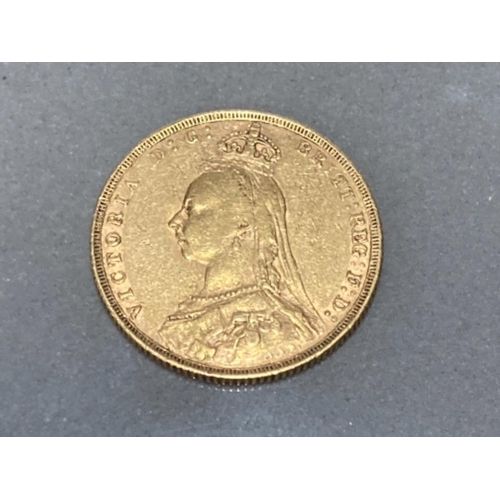 14 - 22CT GOLD 1890 FULL SOVEREIGN COIN
