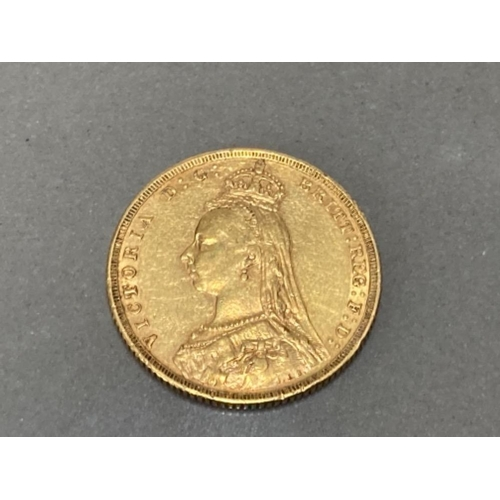 16 - 22CT GOLD IN 1889 FULL SOVEREIGN COIN