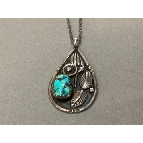21 - HALL STERLING SILVER MARY S LEW NAVAHO PENDANT WITH SILVER CHAIN 4.7G GROSS