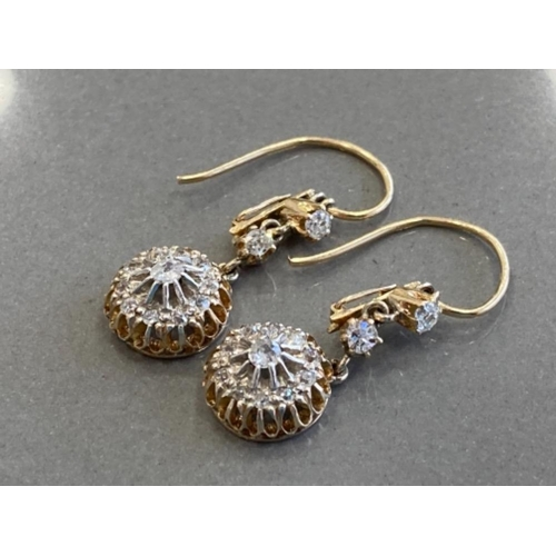 342 - 15CT YELLOW GOLD DIAMOND DROP CLUSTER EARRINGS FEATURING A CLUSTER OF DIAMONDS SET AT THE BOTTOM WIT...