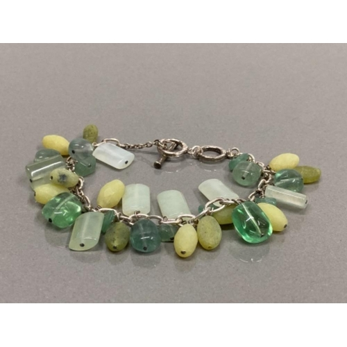 SILVER LINK BRACELET WITH GREEN GEMSTONE CHARMS
