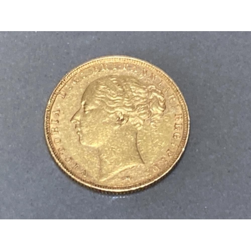 8 - 22CT GOLD 1885 FULL SOVEREIGN COIN...