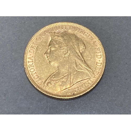 9 - 22CT GOLD 1895 FULL SOVEREIGN COIN