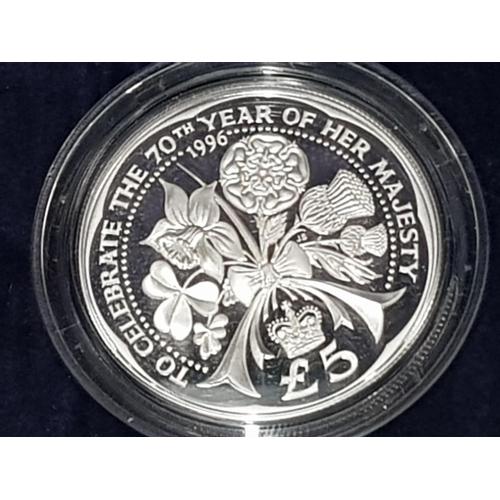 5 - UK ROYAL MINT 1996 SILVER PROOF 12 CROWNS SET 70TH QUEEN ELIZABETH II BIRTHDAY HOUSED IN ORIGINAL DI...
