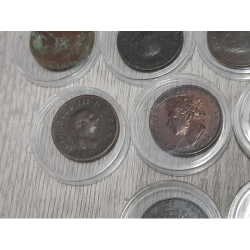 23 - 14 GEORGIAN FARTHINGS INCLUDING 1746, 1799, 1806 IRISH 1822 AND 1828 WITH LUSTRE MOST 19TH CENTURY 1...