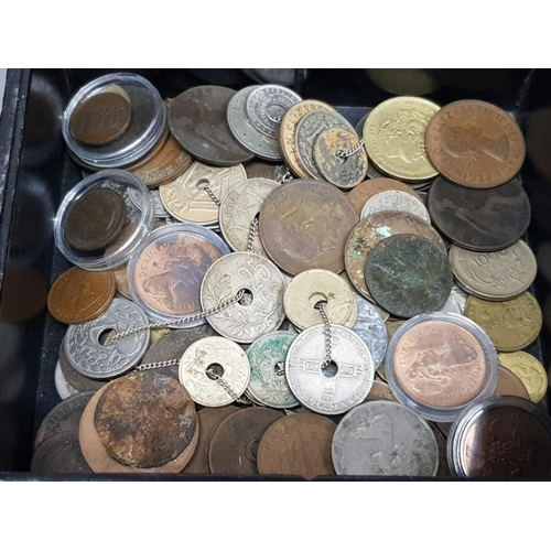 25 - VARIOUS AND NUMEROUS BRITISH PRE DECIMAL PLUS DECIMAL AND WORLD COINS AND A BRILLIANT UNCIRCULATED 1...