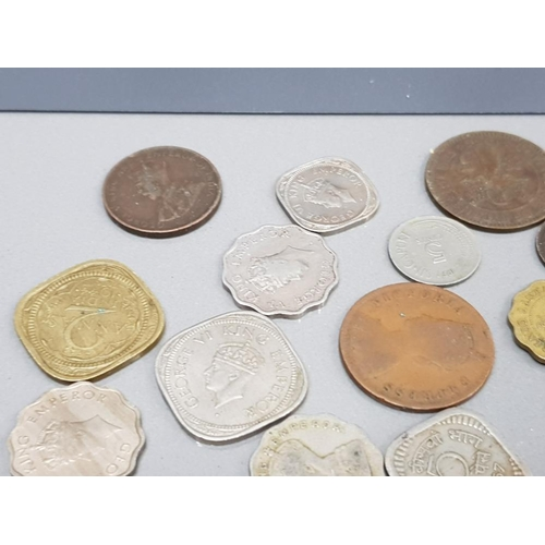 29 - SMALL TRAY OF VARIOUS INDIAN COINS INCLUDING A COUPLE CEYLON,  HONGKONG, SINGAPORE PLUS WALLET INDIA...