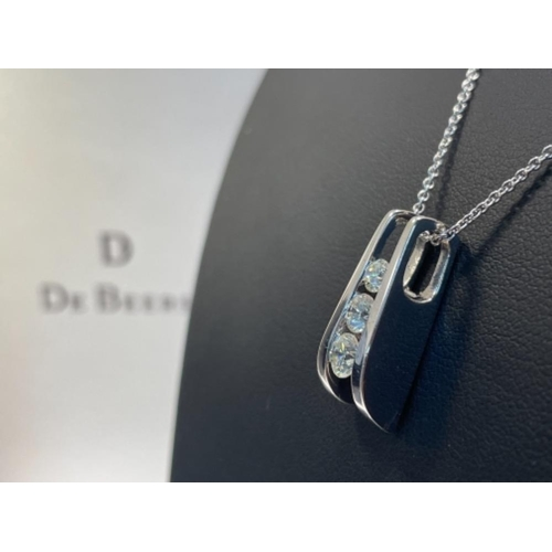 336 - DE BEERS 3 STONE DIAMOND PENDANT AND CHAIN IN 18CT WHITE GOLD 1CTS IN ORIGINAL BOX 8.8G...