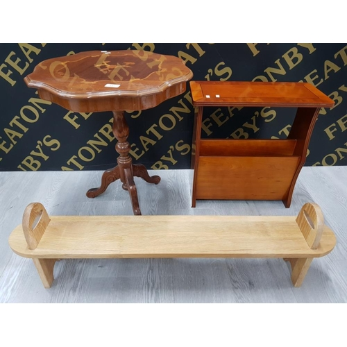 337 - ITALIANATE OCCASIONAL TABLE TOGETHER WITH YEW WOOD MAGAZINES RACK TOGETHER WITH J ME ARTFUL OAK SHOE...
