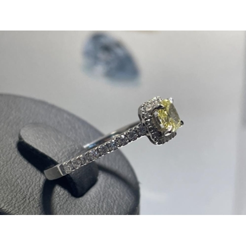 338 - NATURAL FANCY INTENSE YELLOW DIAMOND RING 0.42CTS CUSHION CUT GIA CERTIFIED RING IN PLATINUM WITH DI...