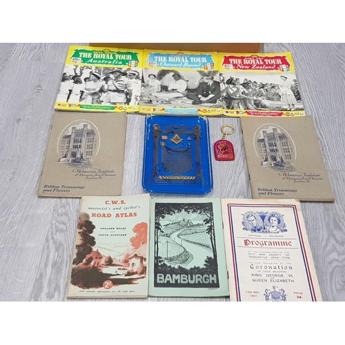 40 - BOX OF EPHEMERA INCLUDES POSTAL ORDERS MILITARY DOCUMENTS AND ANTIQUE ROAD MAPS ETC