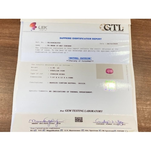 426 - IGI CERTIFIED 1.9CT PINK SAPPHIRE GEM STONE SRI LANKA