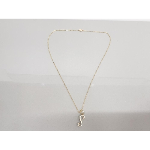 43 - 9CT LETTER S ON AN 18 INCH FIGARO STYLE 9CT GOLD CHAIN 1.8 GRAMS