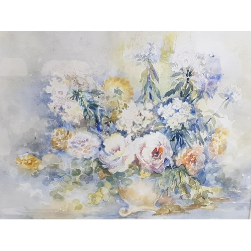 48 - FRAMED WATERCOLOUR STILL LIFE OF FLOWERS OF ROSES, STOCKS AND DAHLIAS BY PENNY WARD 1914- 2005 NORTH...