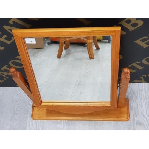 51 - PINE SWIVEL DRESSING TABLE MIRROR