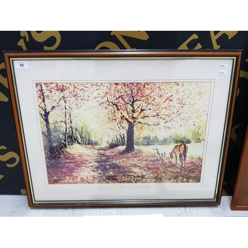 58 - COLLECTION OF FRAMED TAPESTRIES AND PRINTS INCLUDES TRIBAL PEOPLE BY J. OCHIENG AND A AUTUMN SCENE W...