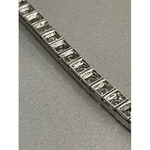 340 - ANTIQUE FRENCH HENRI VEVER 15.64CT OLD CUT DIAMOND LINE BRACELET SET IN PLATINUM CIRCA 1920 LENGTH 7...