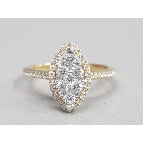 327 - 18CT YELLOW GOLD DIAMOND CLUSTER RING OF 60 POINTS SIZE K1/2 2.8G GROSS...