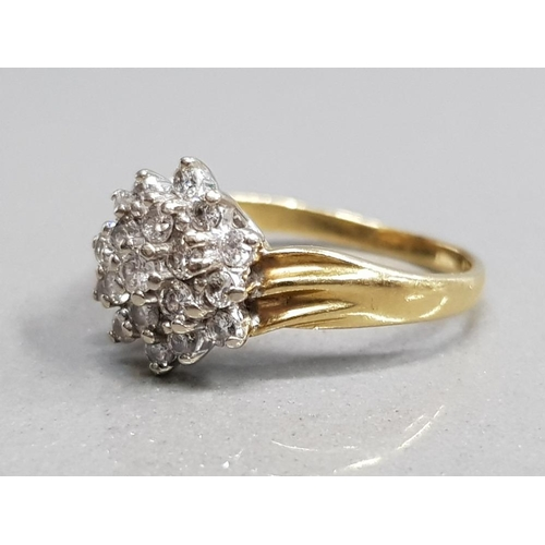 354 - 18CT YELLOW GOLD DIAMOND CLUSTER RING COMPRISING OF 19 BRILLIANT ROUND CUT DIAMONDS CLAW SET SIZE L1...