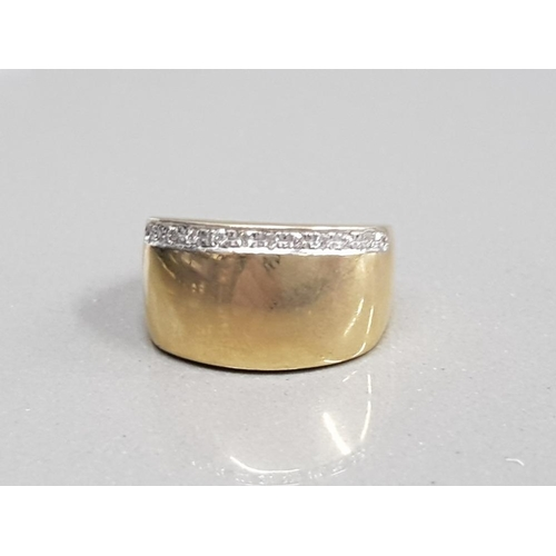 357 - 9CT YELLOW GOLD ORNATE BROAD BAND SET WITH A SINGLE ROW OF BRILLIANT ROUND CUT DIAMONDS SIZE N 4.5G ...