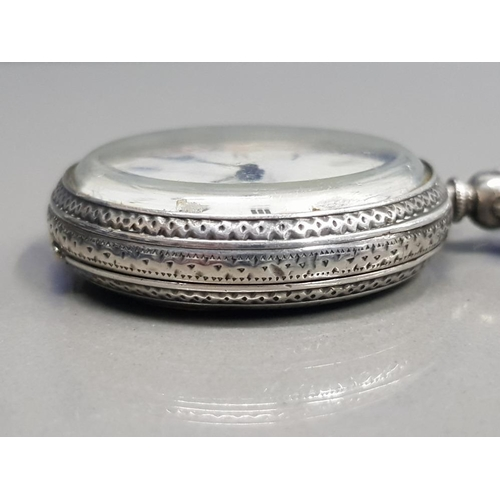 10 - LADIES SILVER POCKET WATCH BIRMINGHAM 1882 WITH WHITE DIAL WITH BLACK ROMAN NUMERAL HOUR MARKERS ENG...