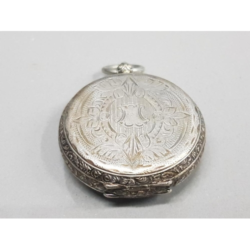 11 - LADIES SILVER POCKET WATCH WITH ENGRAVED OUTER CASS WHITE DIAL WITH FLOWER DESIGN IN THE CENTRE WITH...