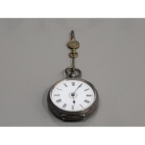 116 - LADIES SILVER HALF HUNTER POCKET WATCH WITH WHITE DIAL WITH FLOWER DESIGN IN THE CENTRE WITH BLACK R...