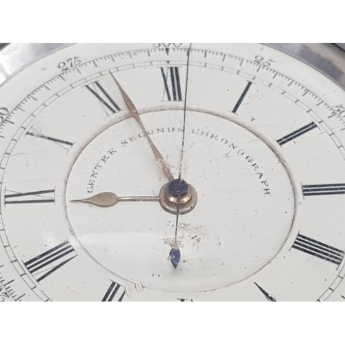117 - GENTS SILVER CENTRE SECONDS SECOND CHRONOGRAPH POCKET WATCH WITH TATCHY METRE AND BLACK ROMAN NUMERA...