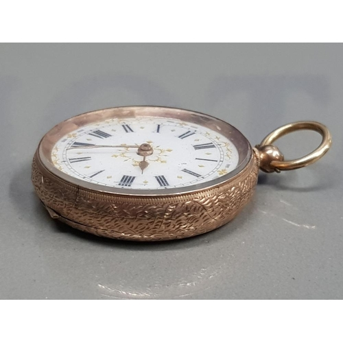 118 - 9CT GOLD HALF HUNTER SMALL CIRCLE POCKET WATCH WITH WHITE DIAL WITH BLACK ROMAN NUMERALS WITH GOLD O...