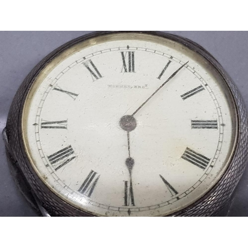 119 - SILVER HALF HUNTER SMALL CIRCLE POCKET WATCH WHITE DIAL WITH BLACK ROMAN NUMERALS KIRNER BROS MODEL