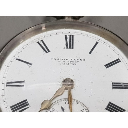 120 - SILVER HALF HUNTER POCKET WATCH WHITE DIAL WITH SMALL CHRONO DIAL BLACK ROMAN NUMERALS GOLD PLATED H...