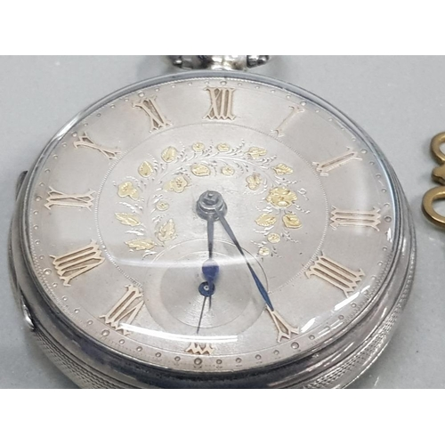 13 - SILVER HALF HUNTER POCKET WATCH SILVER DIAL GOLD PLATED ROMAN NUMERALS ORNATE PATTERN ON THE DIAL WI...