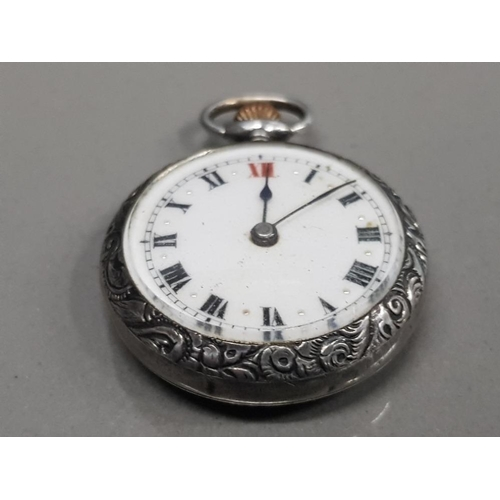 15 - SMALL SILVER FOB WATCH WHITE DIAL WITH BLACK AND RED ROMAN NUMERALS