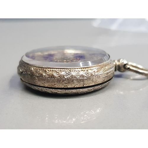 4 - LADIES SILVER HALF HUNTER POCKET WATCH WITH SILVER DIAL AND GOLD PLATED ROMAN NUMERAL HOUR MARKERS W...