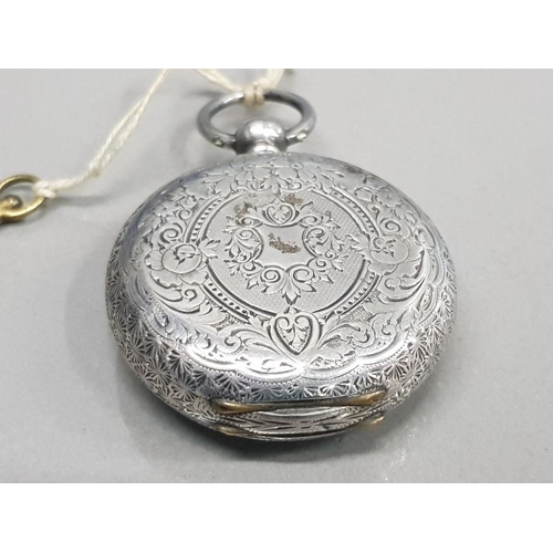 5 - LADIES SILVER HALF HUNTER POCKET WATCH WITH KEY WHITE DIAL WITH BLACK ROMAN NUMERAL HOUR MARKERS BLU...