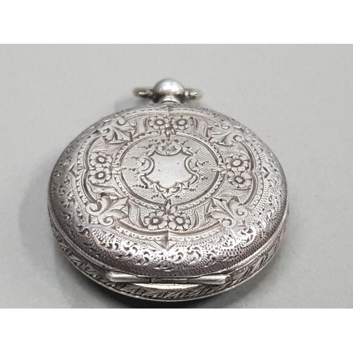 6 - LADIES SILVER HALF HUNTER POCKET WATCH WITH WHITE DIAL AND BLACK ROMAN NUMERAL HOUR MARKERS AND DECO...