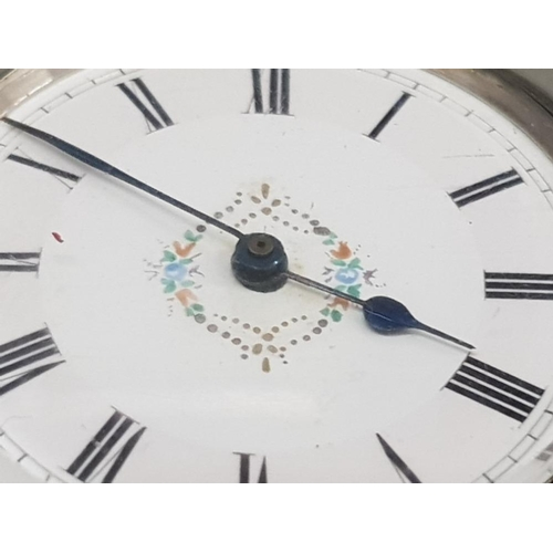 7 - LADIES SILVER HALF HUNTER POCKET WATCH WITH WHITE DIAL WITH FLOWER DESIGN IN THE CENTRE AND BLACK RO...