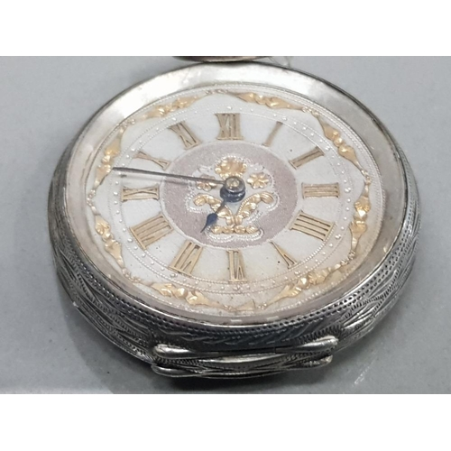 8 - LADIES SILVER HALF HUNTER POCKET WATCH WITH SILVER DIAL AND GOLD PLATED ROMAN NUMERAL HOUR MARKERS A...