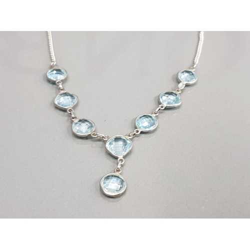 30 - SILVER AND BLUE TOPAZ STONE NECKLET 11.6G