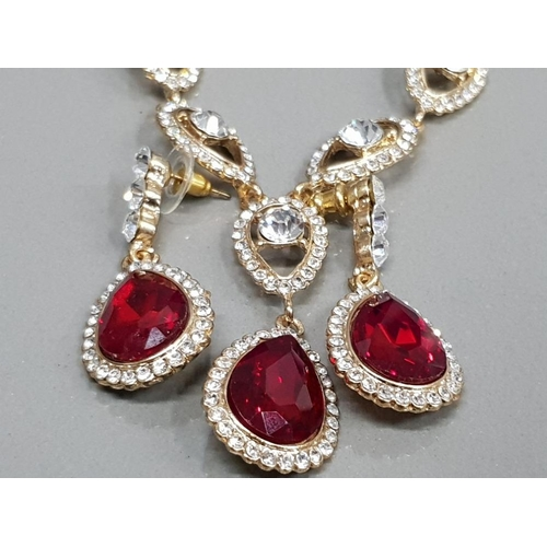 40 - RED AND WHITE PASTE SET COLLARETTE AND DROP EARRINGS